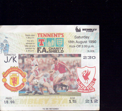 1990/91 MANCHESTER UNITED V LIVERPOOL 18-08-1990 Charity Shield Ticket