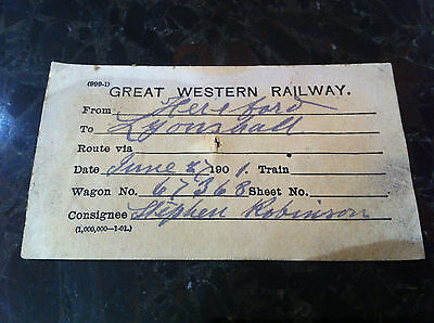 G.w.r. Hereford  To Lyonshall ...   Wagon Label 1901
