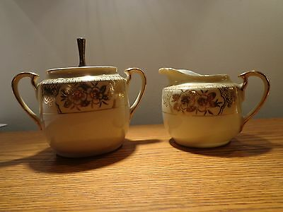 Antique Hand Painted Cream & Sugar Bowl/Lid Made in Japan
