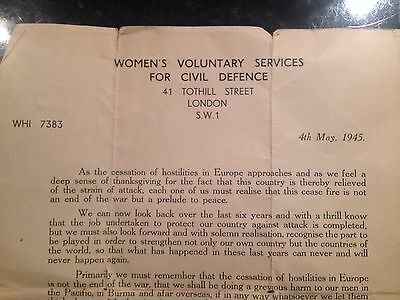 WVS. Womens Voluntary Service. Civil Defence Letter