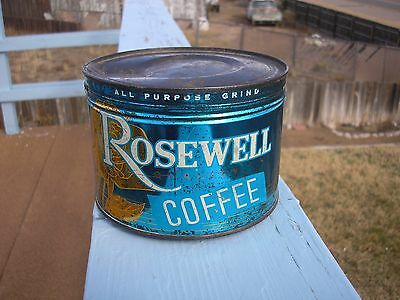 Vtg. Unopened Full Rosewell Key Wind Coffee Tin Can