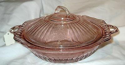 "Pink Mayfair 10"" Bowl with Lid Hocking Glass Co.ca 1931"