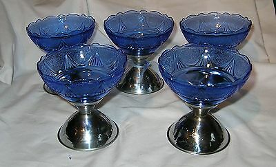 Set of 5 Blue Royal Lace Sherbet with Metal Bases by Hazel Atlas ca 1934.