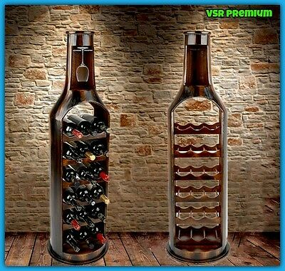 Collectible Dark Wood Wine Rack Floor Stand 18 Bottle Holder Rustic Hand Crafted