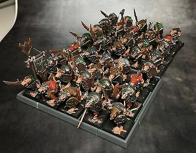 Warhammer AoS Skaven 40x clanrat regiment/slaves painted plastic ready to base