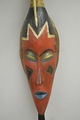 Baule Ivory Coast African Red Face Yellow Bird Crest Female Mask