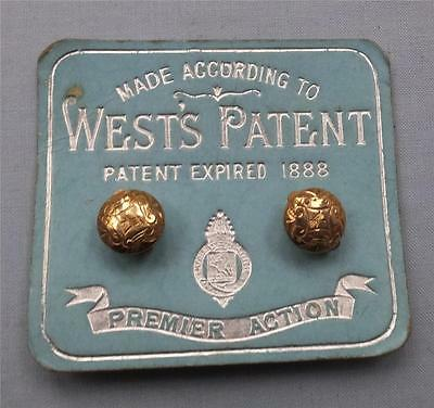 A PR. of GOLD PLATE PATENT POP STUD BUTTONS -WEST'S PATENT on ORIGINAL SHOP CARD