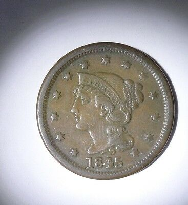 1845 Penny Braided Head Large Cent - Nice Coin.