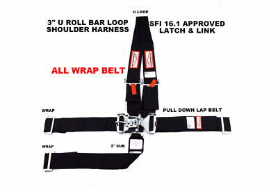 "Sfi 16.1 Racing Harness 5 Point U Wrap Roll Bar Loop 3"" Latch & Link Black"