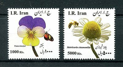 lran 2015 MNH Flowers 2v Set Bees Butterflies Insects Stamps