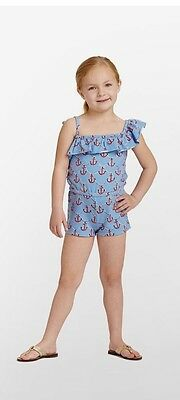 NWT Lilly Pulitzer Girls Mini Mittie Romper Low Tide Blue Anchors Away Sz XL