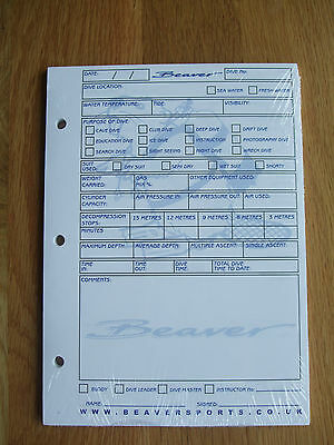 Brand New Beaver Log Book Inserts Scuba Diving Record Keeping 50 Sheets