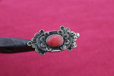 Vintage Antique Afghan Turkmen Coral Inlayed Ring Traditional Handmade 7Us Old