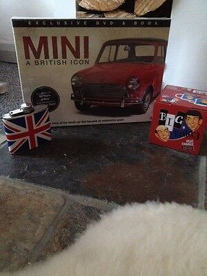 Job Lot of Mens Gifts incl Mini Car Book/Dvd, Hip Flask & Baldy Heat Mug ALL NEW