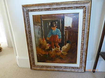 Oil painting by artist Locati of girl feeding chickens.