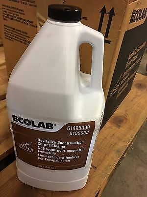 Case of 4 Gallons Ecolab Revitalize Encapsulation Carpet Cleaner NEW!