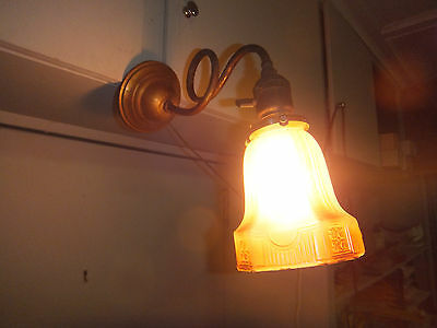 Antique Unusual Brass Sconce Lamp with Glass Shade