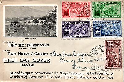 New Zealand 1936 Chamber of Commerce set used on illustrated fdc