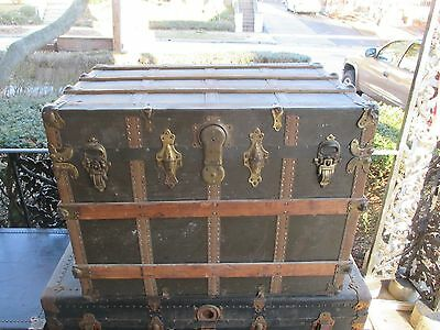 Antique Victorian Steamer Trunk Brides Chest w/ Original Key