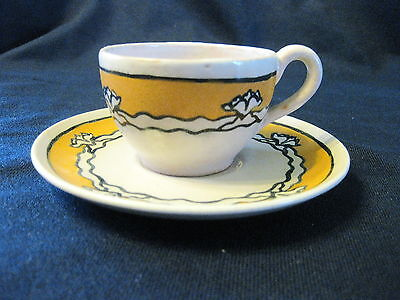 1920 Saturday Evening Girls Pottery Lotus Blossom Cup/saucer Artist Signed