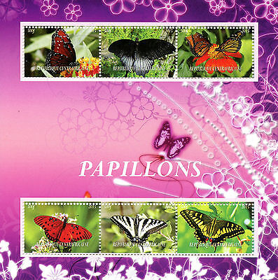 Central African Republic 2015 CTO Butterflies 6v M/S Insects Stamps