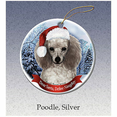 Poodle Silver Howliday Porcelain China Dog Christmas Ornament