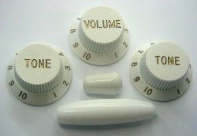 Fender Strat Replacement Knob Set 1 Vol 2 Tone Trem & Switch Tips White