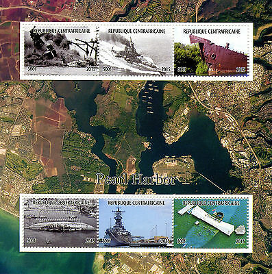 Central African Rep 2015 MNH WWII WW2 Pearl Harbor Attack 6v M/S Ships Stamps