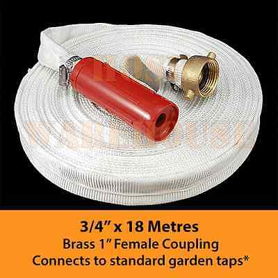 """3/4"""" x 18Mtr Canvas Layflat Fire Fighting Hose Twist Nozzle and 1"""" Female BSP"""