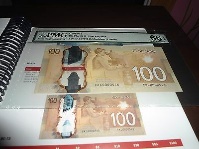 PLATE NOTE 2011 $100 low serial number 545