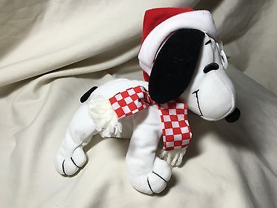 Peanuts Collection Snoopy Plush New with Tags Santa Hat Christmas Scarf Applause