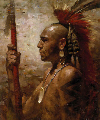 Native American Indian Warrior Soldier Mohican Oil Painting Portrait Wild West