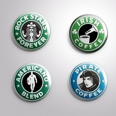 Coffee Types Pins Badges Buttons 1'' ++