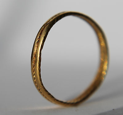Ancient Roman Period Gold Decorated Finger Ring 100-400 A.D.