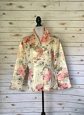 Asian Style Jacket Silk Brocade Mandarin Collar Women's Size XL