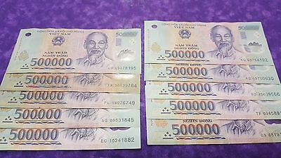 5 MILLION VIETNAMESE DONG POLYMER CURRENCY BANKNOTES CIRC VIETNAM 10 x 500,000 =