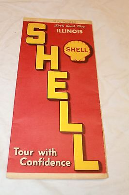 ROAD MAP vintage 1930's SHELL Gas & Oil Co. Ilinois