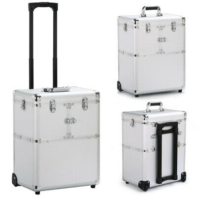 19'' Aluminum Rolling Makeup Trolley Beauty Cosmetic Salon Case Box W/Lock Hand