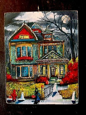 Colorful Haunted House Wooden Glittered Halloween Ornament