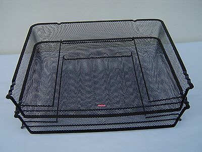 Two (2) Rubbermaid Stackable Desk Document Tray Organizer Black Metal Mesh