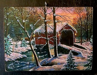 Covered Bridge In Winter Snow Wooden Glittered Christmas Ornament