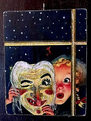 Th Witch Mask Wooden Glittered Halloween Ornament