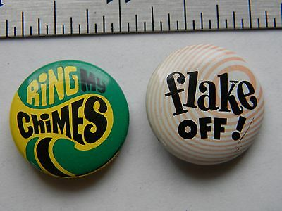 1969 Ring My Chimes pin Rowan and Martin's Laugh In & Vtg Flake Off Slang Slogan