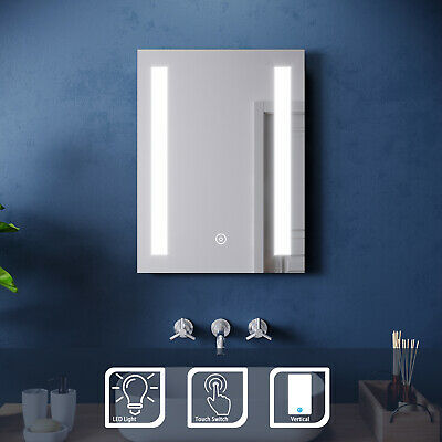 450x600mm Bathroom LED Mirror Illuminated Light Vertical Touch Switch