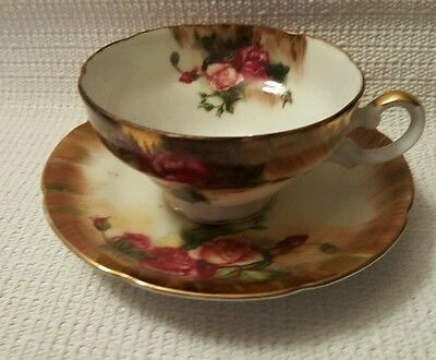 Napco SD722 Burgundy Roses Gold Trim Cup & Saucer Hand Painted
