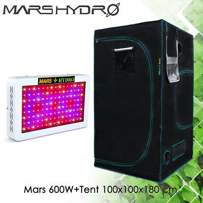 Mars 600 LED Grow Light +100x100x180cm Mylar Hydroponics Indoor Dark Green Room