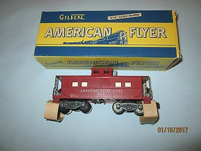 American Flyer #930 Illuminated Tuscan Painted Caboose w/Original Box. LN