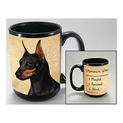 Miniature Pinscher Min Pin Faithful Friends Dog Breed 15oz Coffee Mug Cup
