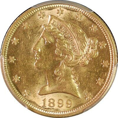 1899 PCGS AU58 US $5 Liberty Head Gold Coin