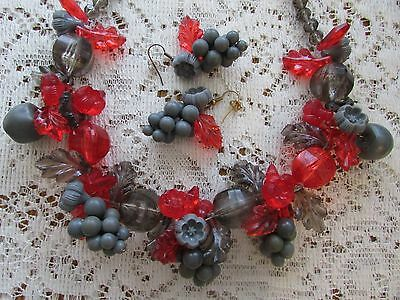 Rare Vtg Statement Fruit Salad Necklace & Pierced Earrings Lucite Gray~Red